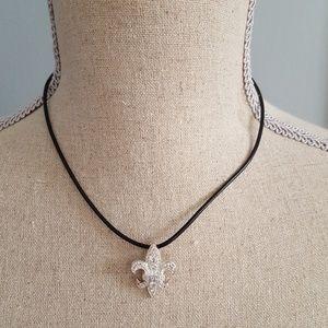 Fleur de Lis Sterling Charm Necklace